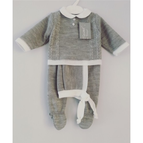 Baby Boys Grey Knitted Top & Trouser Set with Matching Hat