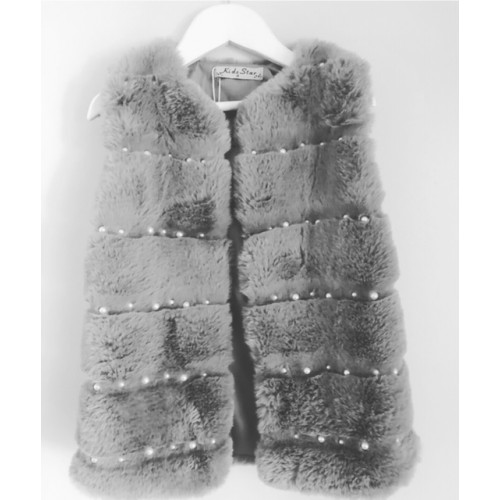 GIRLS FAUX FUR GREY PEARL GILLET