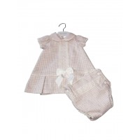 Pink/Cream Checkered Dress & Knickers Set