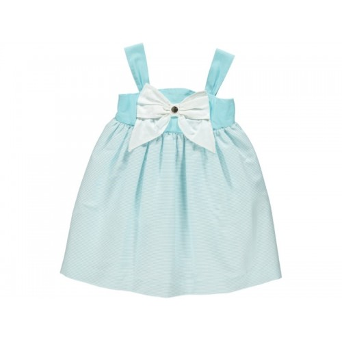 Girls Aqua Summer Bow Dress