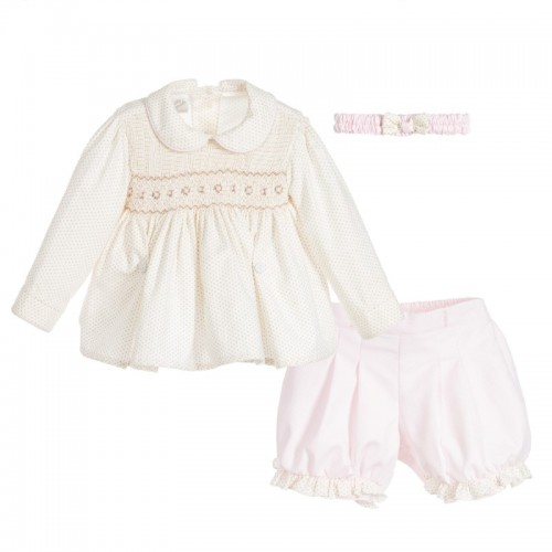 Girls Smocked Blouse & Pink Shorts Set with Matching Headband