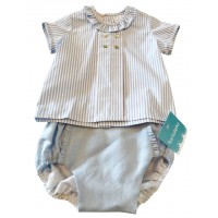 Baby Blue Stripe Frill Neck Top & Jam Pant Set