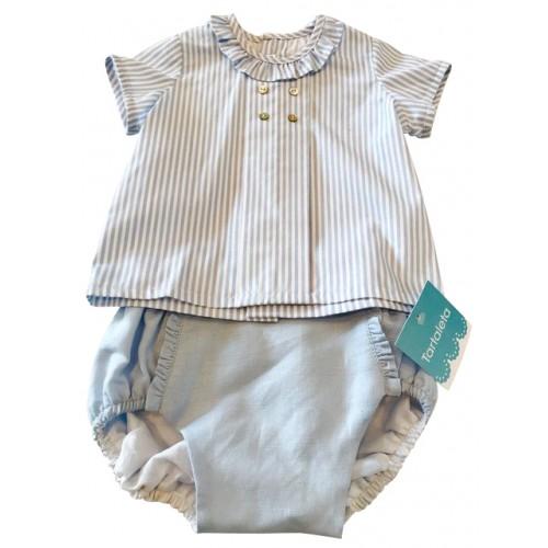 Baby Blue Stripe Frill Neck Top & Jam Pant Set