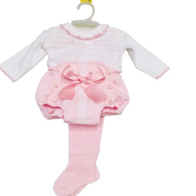 Baby Girls Pink/white Knitted Top,Jam Pants & Tights
