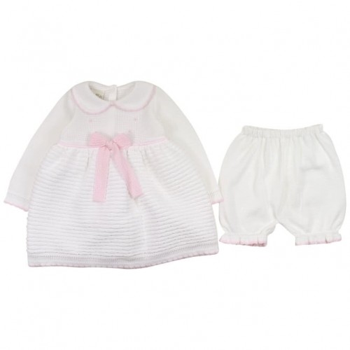 White Knitted Dress And Bloomer Set