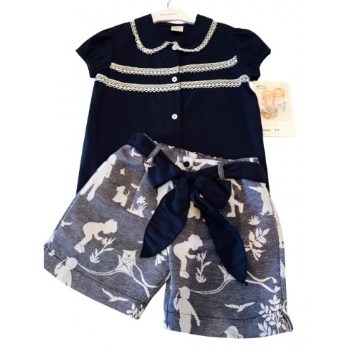 Navy Blouse And Bow Shorts Set