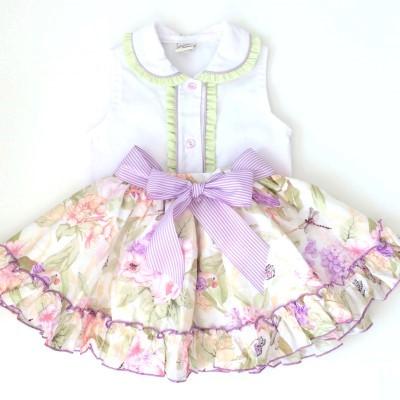 Pretty Originals White sleeveless blouse, lilac/green floral skirt
