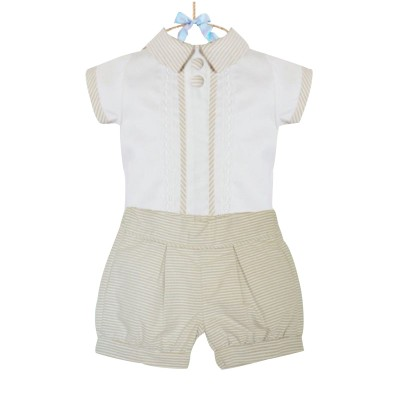 Pretty Originlals White blouse & beige stripped shorts set