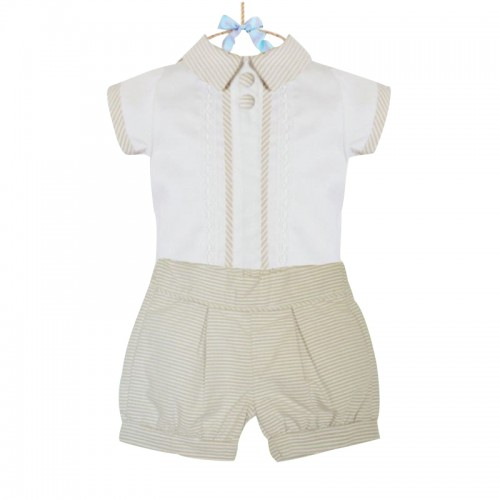 ROCCO - Traditional Top & Shorts Set BEIGE