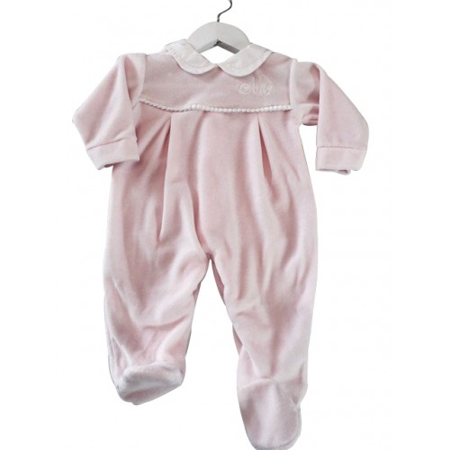 Pink Velour girls Baby Grow