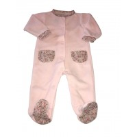 Pink Flower Trimmed Baby Grow With Pockets