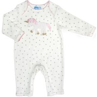 White star baby grow with unicorn motif