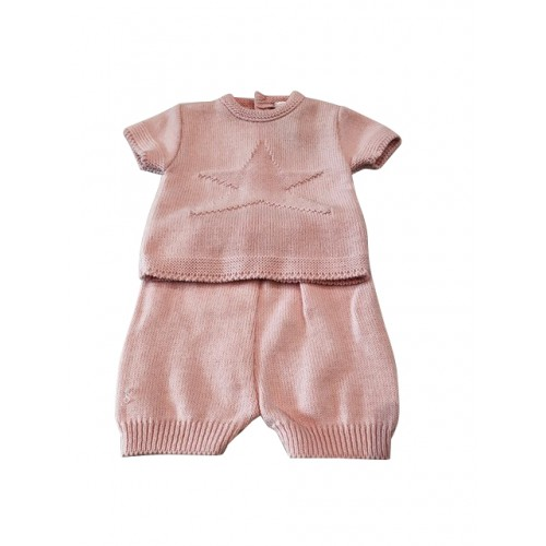 Pink Knitted 2 Piece Set Star Top & Shorts