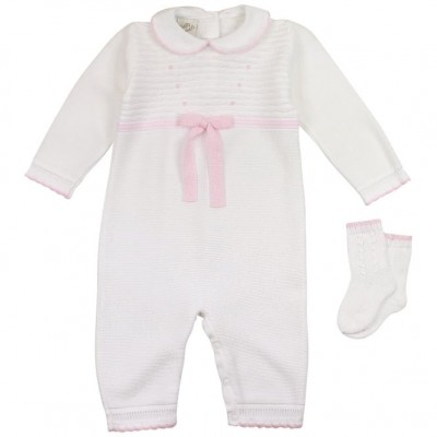 Pretty Originals White/pink knitted Romper with pink bow