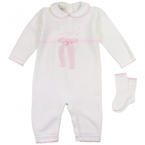 White KnittedRomper With Pink BowAnd Socks