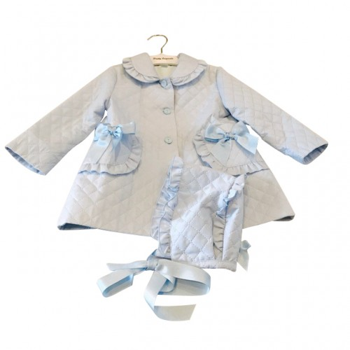 Girls Baby Blue Quilted Coat and Matching Bonnet
