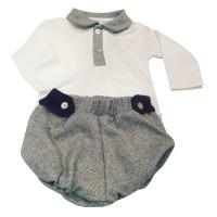MHN Cream peter pan coller top & jam pants