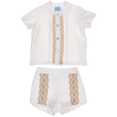 Tartaleta White linen shirt with beige trimed shorts