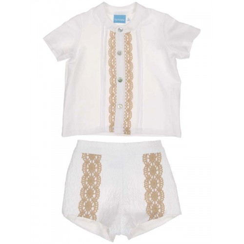 White Linen Shorts Set
