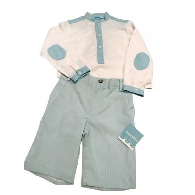 Tartaleta White & Aqua trimedlong sleeved shirtwith aqua shorts