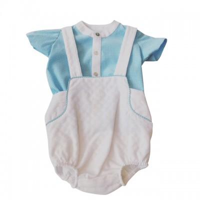 Tartaleta White short dungrees with short sleeved aqua shirt