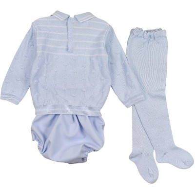 Blue Knitted Top With Jam Pants & Tights