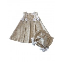 PRETTY ORIGINALS Wheat & White Bow Dress