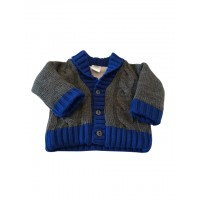 MNH Grey knit Cardigan trimed with navy