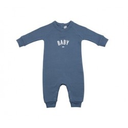 Denim Blue 'Baby' Logo Romper