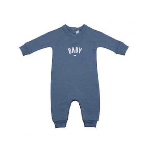 Denim Blue 'Baby' Logo Romper