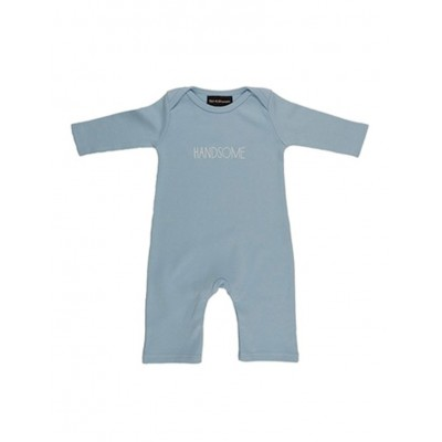 Baby Blue 'Handsome' Logo romper