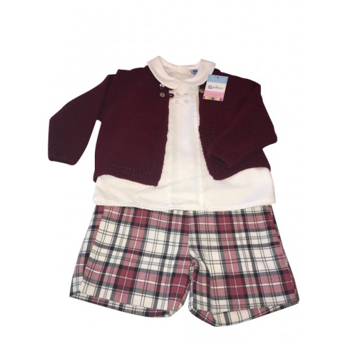 Shorts Shirt & Cardigan Set