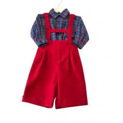 Boys Red Dungaree & Shirt Set