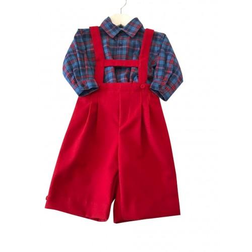 Boys Red Dungaree & Shirt Set