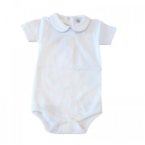 White Peter pan Bodysuit With Blue Trim
