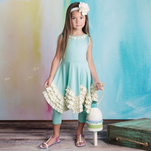 Duck Egg Ruffle Top And Short Leggings