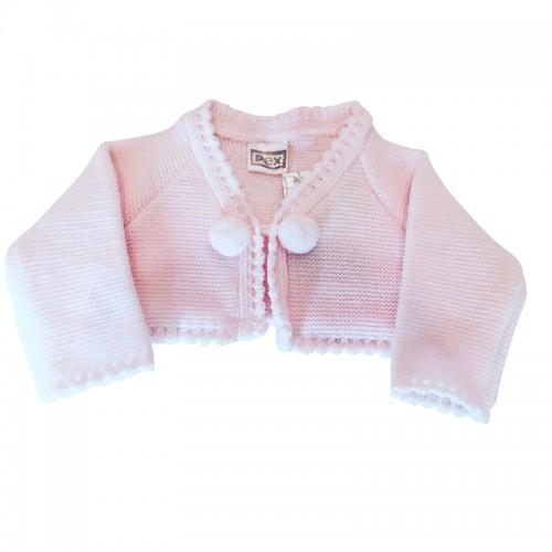 Baby Girls Pink Pom Pom Cardigan