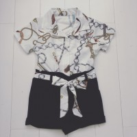 Navy Chain Print Playsuit