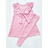 Pink Ruffle Top & Leggings Set