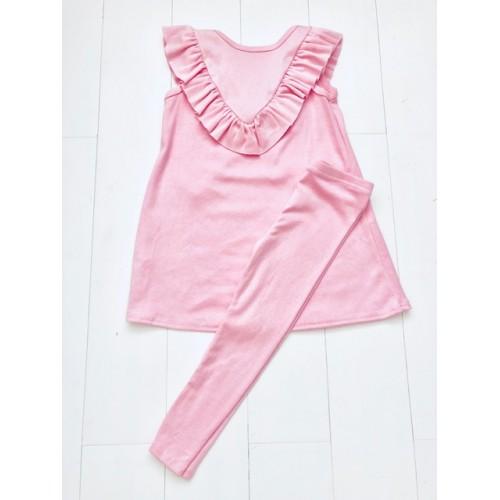 Pink Ruffle Top & Leggings Set