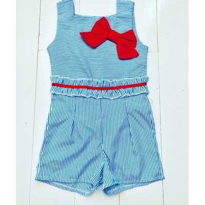 Girls Pin Strip Play Suit
