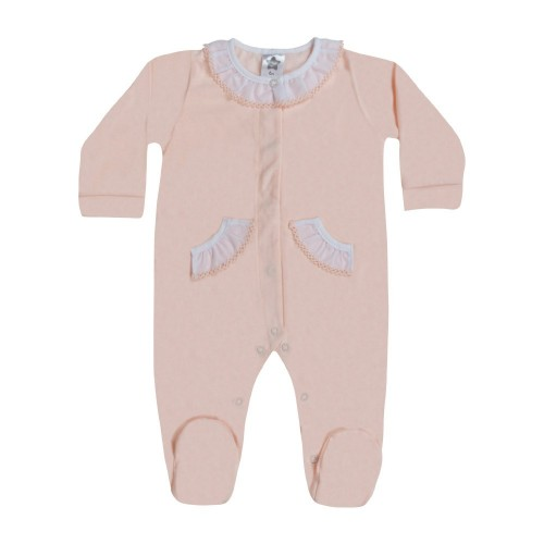 Girls Frill Neck Baby Grow Pink