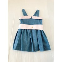 Jean Dress With Pink Sash Belt