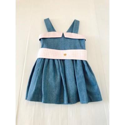 Jean Dress With Pink Sash Belt