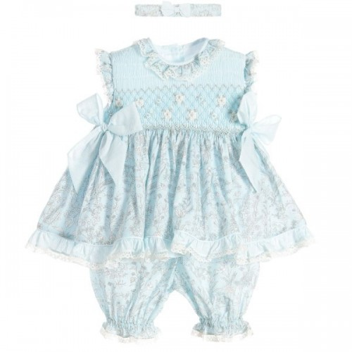 Smocked Dress Set With Matching Headband