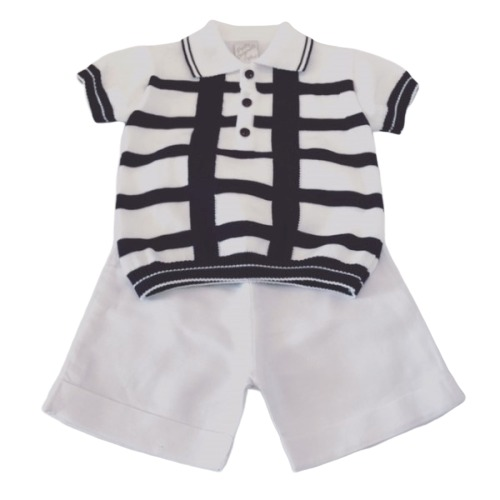 Boys Navy/white Shorts Set