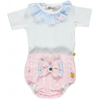 Frill Neck Top And Jam Pant Set