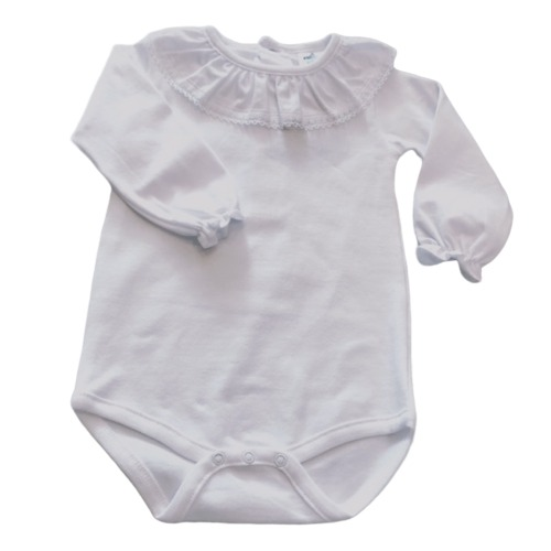 Baby Girls White Lace Frill Neck Top