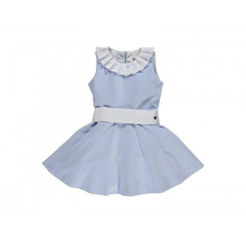 Girls Velvet Frill Neck Dress