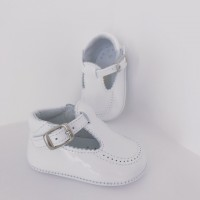 Babies White Patent Pram Shoes